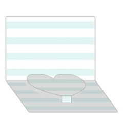 Baby Blue And White Stripes Heart Bottom 3d Greeting Card (7x5)  by timelessartoncanvas
