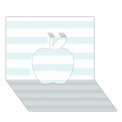 Baby Blue And White Stripes Apple 3d Greeting Card (7x5)  by timelessartoncanvas