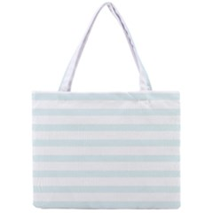 Baby Blue And White Stripes Mini Tote Bag by timelessartoncanvas
