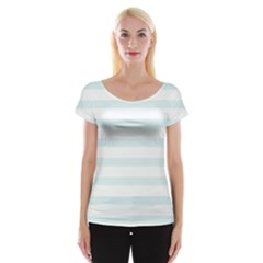 Baby Blue And White Stripes Women s Cap Sleeve Top by timelessartoncanvas