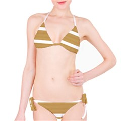 Beige/ Brown And White Stripes Design Bikini Set by timelessartoncanvas