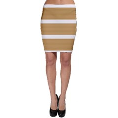 Beige/ Brown And White Stripes Design Bodycon Skirts by timelessartoncanvas