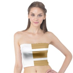 Beige/ Brown And White Stripes Design Tube Top by timelessartoncanvas