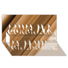 Metallic Brown/neige Stripes Congrats Graduate 3d Greeting Card (8x4)  by timelessartoncanvas