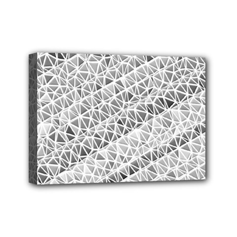 Silver Abstract And Stripes Mini Canvas 7  X 5  by timelessartoncanvas