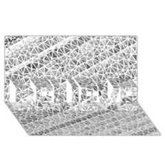 Silver Abstract And Stripes Believe 3d Greeting Card (8x4)