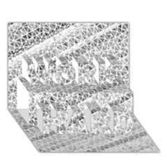 Silver Abstract And Stripes Work Hard 3d Greeting Card (7x5)  by timelessartoncanvas