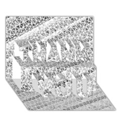 Silver Abstract And Stripes Thank You 3d Greeting Card (7x5)  by timelessartoncanvas