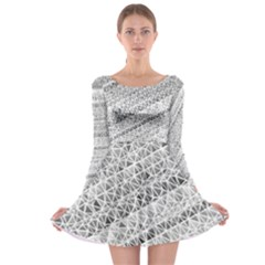 Silver Abstract And Stripes Long Sleeve Skater Dress