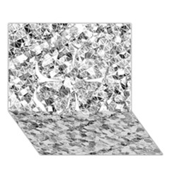 Silver Abstract Design Clover 3d Greeting Card (7x5)  by timelessartoncanvas
