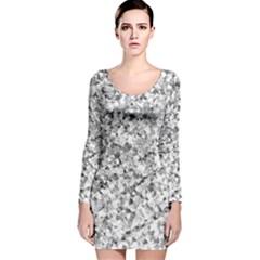 Silver Abstract Design Long Sleeve Velvet Bodycon Dress by timelessartoncanvas