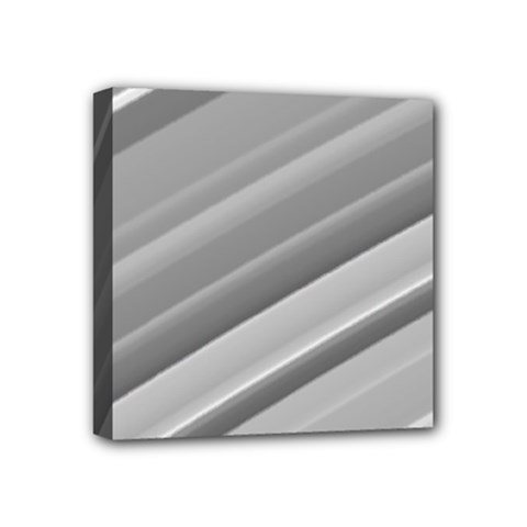 Elegant Silver Metallic Stripe Design Mini Canvas 4  X 4  by timelessartoncanvas