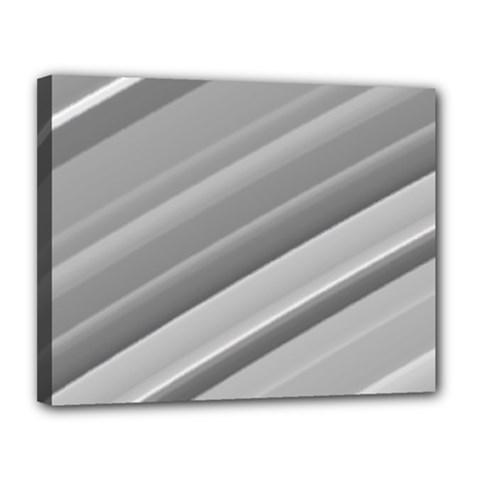 Elegant Silver Metallic Stripe Design Canvas 14  X 11  by timelessartoncanvas