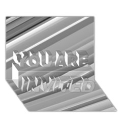Elegant Silver Metallic Stripe Design You Are Invited 3d Greeting Card (7x5)  by timelessartoncanvas