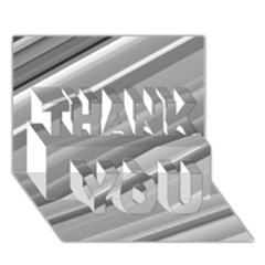 Elegant Silver Metallic Stripe Design Thank You 3d Greeting Card (7x5)  by timelessartoncanvas