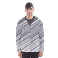 Elegant Silver Metallic Stripe Design Hooded Wind Breaker (men) by timelessartoncanvas