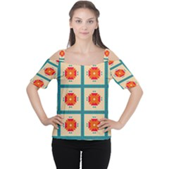 Shapes In Squares Pattern Women s Cutout Shoulder Tee by LalyLauraFLM
