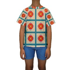 Shapes in squares pattern  Kid s Short Sleeve Swimwear by LalyLauraFLM