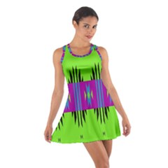 Tribal shapes on a green background Cotton Racerback Dress by LalyLauraFLM