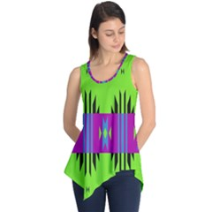 Tribal Shapes On A Green Background Sleeveless Tunic