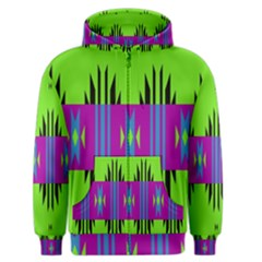Tribal shapes on a green background Men s Zipper Hoodie by LalyLauraFLM