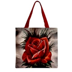 Red Rose Grocery Tote Bag by ArtByThree