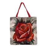 Red Rose Grocery Tote Bag