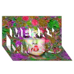 Flowers In Your Hair Merry Xmas 3d Greeting Card (8x4)  by icarusismartdesigns