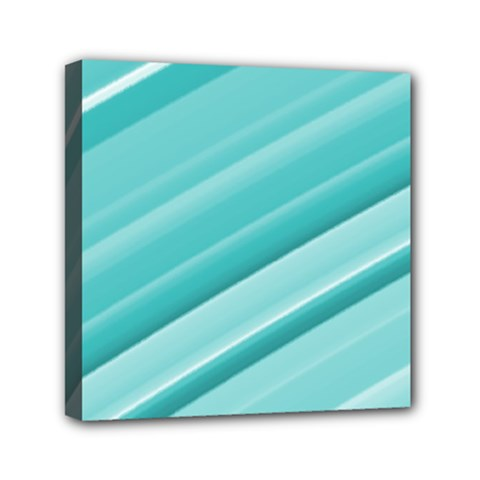 Teal And White Fun Mini Canvas 6  X 6  by timelessartoncanvas
