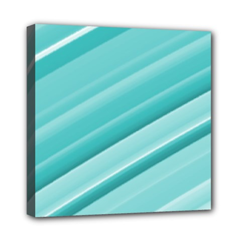 Teal And White Fun Mini Canvas 8  X 8  by timelessartoncanvas