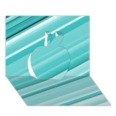 Teal And White Fun Apple 3d Greeting Card (7x5)  by timelessartoncanvas