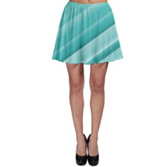 Teal And White Fun Skater Skirt