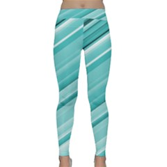 Teal And White Fun Yoga Leggings by timelessartoncanvas