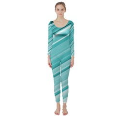 Teal And White Fun Long Sleeve Catsuit by timelessartoncanvas