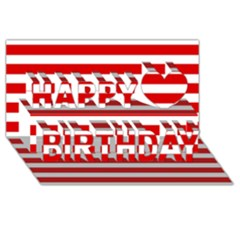Red And White Stripes Happy Birthday 3d Greeting Card (8x4)  by timelessartoncanvas