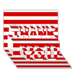 Red And White Stripes Thank You 3d Greeting Card (7x5)  by timelessartoncanvas