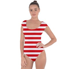 Red And White Stripes Short Sleeve Leotard (ladies) by timelessartoncanvas