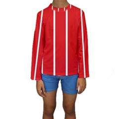 White And Red Stripes Kid s Long Sleeve Swimwear