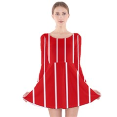 White And Red Stripes Long Sleeve Velvet Skater Dress by timelessartoncanvas