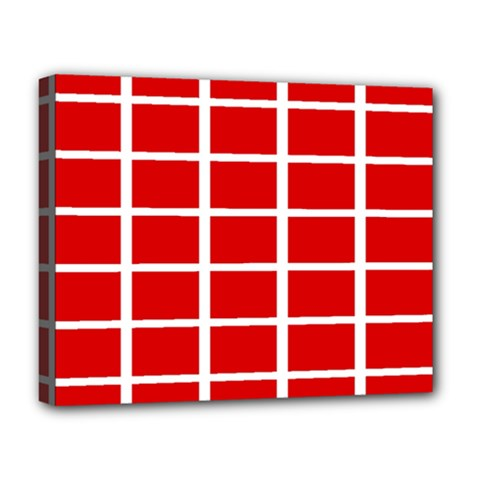 Red Cubes Stripes Deluxe Canvas 20  X 16   by timelessartoncanvas