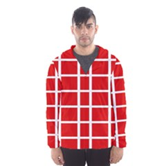 Red Cubes Stripes Hooded Wind Breaker (men) by timelessartoncanvas