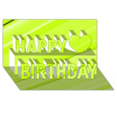 Bright Green Stripes Happy Birthday 3d Greeting Card (8x4)  by timelessartoncanvas