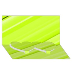 Bright Green Stripes Twin Heart Bottom 3d Greeting Card (8x4)  by timelessartoncanvas