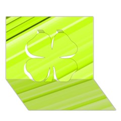 Bright Green Stripes Clover 3d Greeting Card (7x5)
