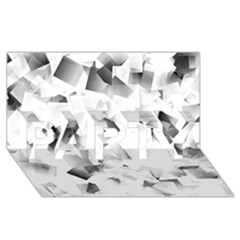Gray And Silver Cubes Abstract Party 3d Greeting Card (8x4)  by timelessartoncanvas