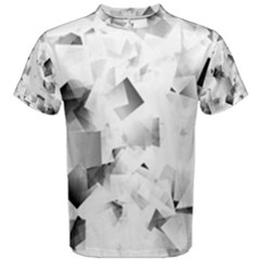 Gray And Silver Cubes Abstract Men s Cotton Tee by timelessartoncanvas
