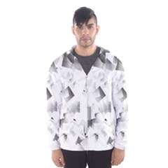 Gray And Silver Cubes Abstract Hooded Wind Breaker (men) by timelessartoncanvas