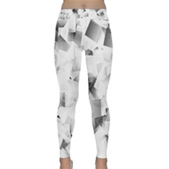 Gray and Silver Cubes Abstract Yoga Leggings by timelessartoncanvas