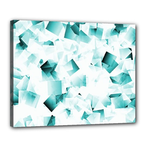 Modern Teal Cubes Canvas 20  X 16  by timelessartoncanvas