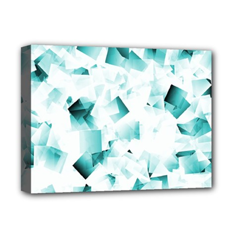 Modern Teal Cubes Deluxe Canvas 16  X 12   by timelessartoncanvas